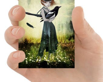 Lowbrow ACEO Art Card - Big Eyes Art - Big Eyed Girl & Magpie - Magpie ACEO Card - One For Sorrow