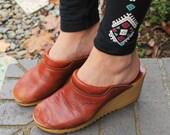 Vintage Littlefoot Brown Leather Wedge Heel Clogs Boho