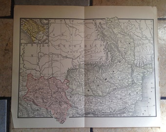1890 Political Map of Rumania, Bulgaria, and Servia Antique Illustration