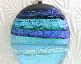 Aqua Ribbons Pendant, Handmade Fused Glass Jewelry