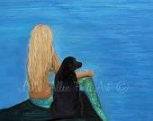 "Mermaid Art Mermaid Print Mermaids Black Lab Labrador Art  Mermaid Wall Art ""MY LOYAL FRIEND""  Wall Art Mermaid Painting Black Lab Labrador"