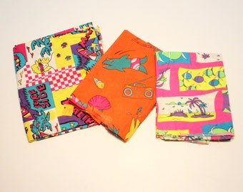 80's Vintage Fabric / Neon Children's Print / Surf Ocean Beach / 3 Pieces / Cotton / 2 Yards