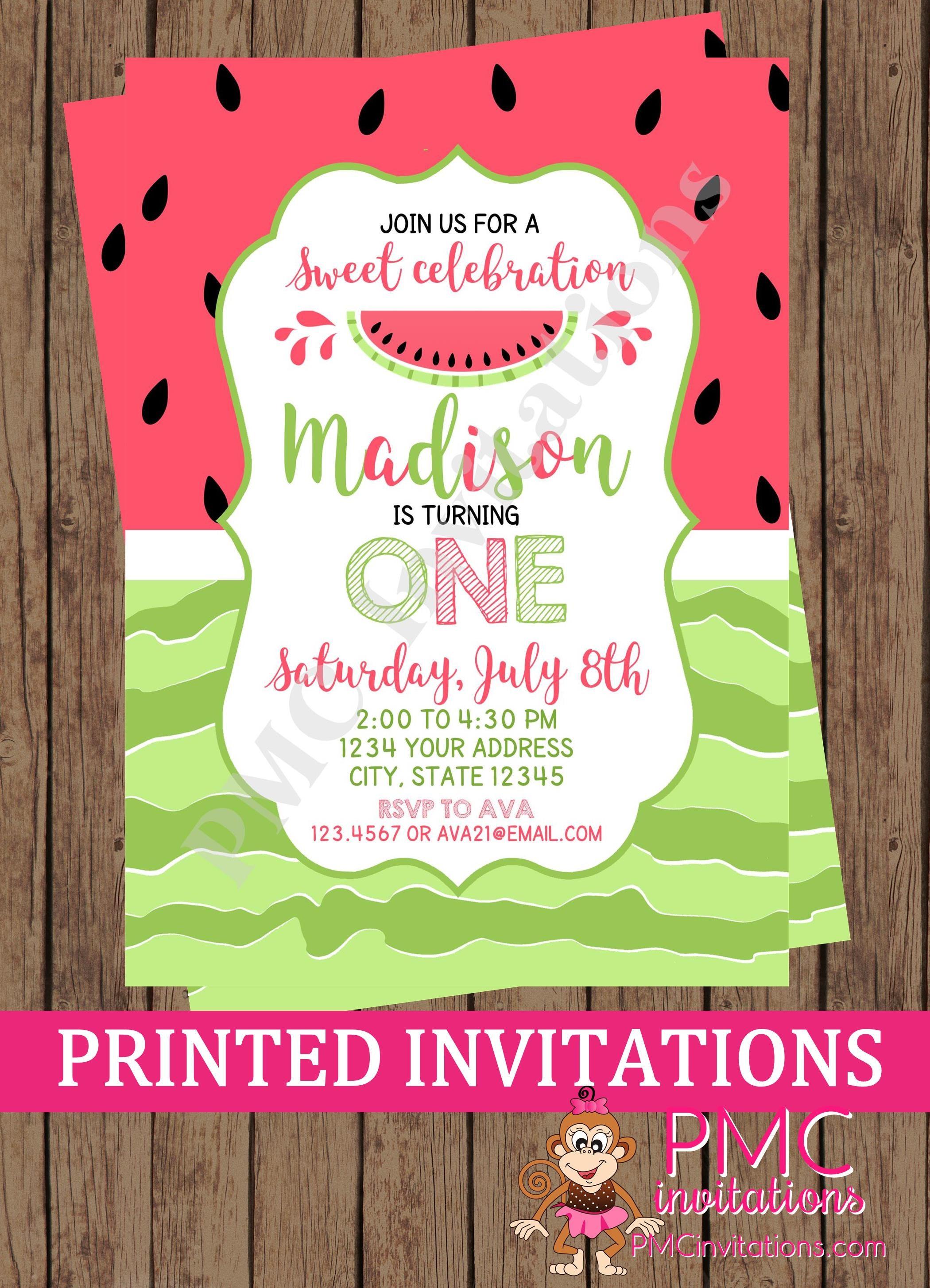 Custom Printed Sweet Watermelon Birthday Invitations