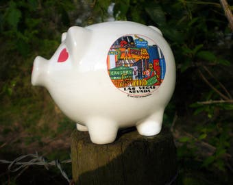 Vintage Piggy Bank, White Ceramic, Las Vegas Souvenir Bank, Playful Home Decor, 80s Kids or Adult Piggy Bank