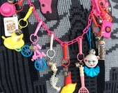 Totally Awesome Vintage 80's Plastic Bell Clip Toy Charm Necklace Jewelry with Lipstick, Lips, Pepsi, Guitar, Tennis, Clown, Camera, Bike