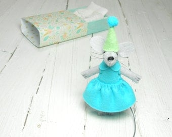 Matchbox doll mouse in a matchbox gift for kids stocking stuffer baby welcoming stuffed animal mouse miniature stuffed felt aquamarine