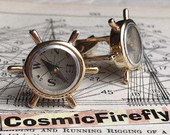 SWANK Cufflinks Vintage Cufflinks Nautical Ship's Wheel Steampunk Compass Cufflinks Men's Cufflinks Antique Cufflinks Tropical Vacation