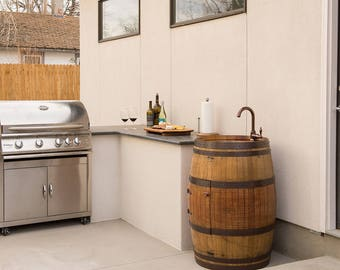 Wine Barrel Vanity with Hammered Copper Bar Sink