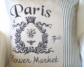 French Pillow Cover, Paris Pillow, Throw Pillow Cushion Covers Paris Flower Market Black Ticking Stripe, 16 x 16 or 18 x 18 Shabby Chic