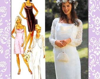 DREAMY SLIP DRESS-Sewing Pattern-Three Styles-Evening-Cocktail Length-Empire Waistline-Lace Overlay-Lace Shrug Jacket-Uncut-Size 6-16-Rare