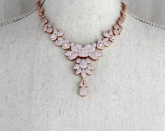 Rose gold necklace, Rose Gold Bridal necklace, Wedding jewelry, Swarovski necklace, Crystal necklace, Statement necklace, Vintage Wedding