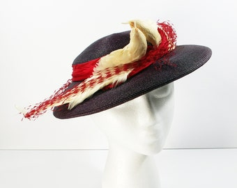 Vintage Straw Tilt Boater Hat with Bird Wings, Laddie Northridge 40s Navy Blue Boater Hat Red Veil and Hat Band With White Bird Wings
