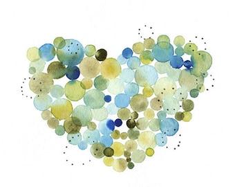 Dot heart watercolor print, Whimsical heart illustration, Love heart print, Valentine heart print, Heart wall decor, Kid room decor