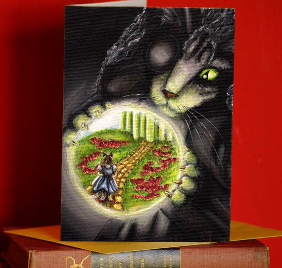 Wicked Witch Cat, Wizard of Oz, Cat Art 5x7 Blank Greeting Card