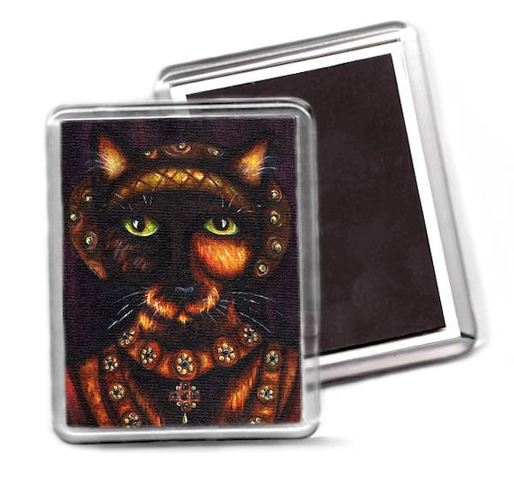 Tudor Cat Magnet, Anne of Cleves Tortoiseshell Cat Fridge Magnet