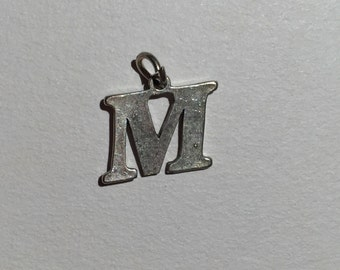 Vintage Sterling Silver Initial M Charm