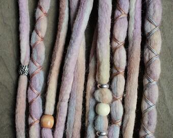 """10 Tie-Dye 14-16"""" (READY to SHIP) Clip-In Wool Dreads Wrapped & Beaded Bohemian Hippie Dreadlocks"""