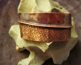 Tribal organic primitive fold form organic copper cuff