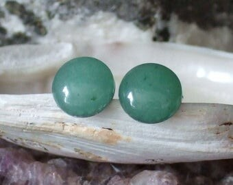 Green 10mm Aventurine Stud Type Earrings Earings Titanium Posts and Clutches Hypo Allergenic Handcrafted Vitality