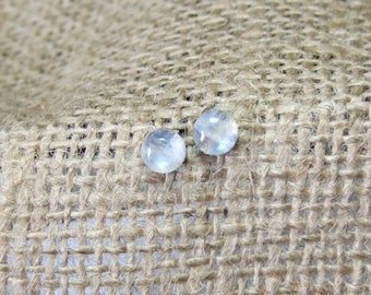 Rainbow Moonstone Blue Tint 6mm Stud Earrings Earings Titanium Post and Clutch Hypo Allergenic Handmade in Newfoundland Icy Cool