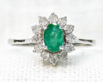 Vintage 14k Gold Emerald and Diamond Halo Engagement Ring