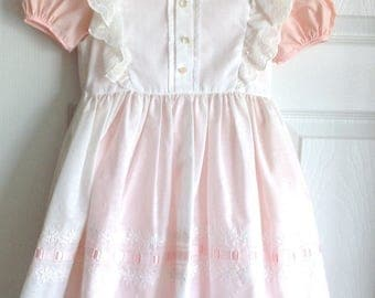 Pink Girls Dress White Pinafore Size 6 Jayne Copeland 1980s