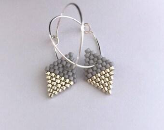 Earrings - Diamond Drops - Light Grey and Silver
