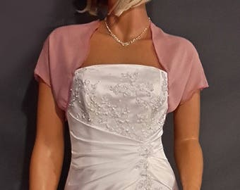 Chiffon bolero jacket bridal shrug short sleeve wedding wrap cover up CBA200 AVAILABLE IN rose pink and 6 other colors. Small- Plus size!