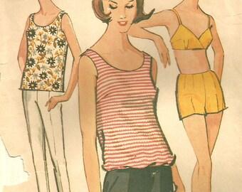 Vintage 60s MCCalls 6820 Misses 2 pc  Bathing Suit, Blouson Top and Cigarette Pants  Sewing Pattern - Size 16 Bust 36