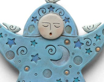 Ceramic goddess, wall art, handmade sculpture