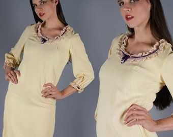 Yellow Mini Dress 60s Dolly Dress Lace Collar and Purple Ribbon Bows Bishop Sleeves