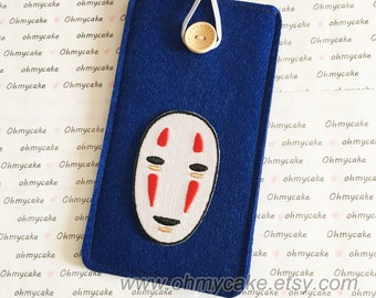 Custom Size Felt iPhone Case, Cell Phone Sleeve, Felt Phone case, Handmade cell phone purse, Spirited Away face case, iPhone 7 case