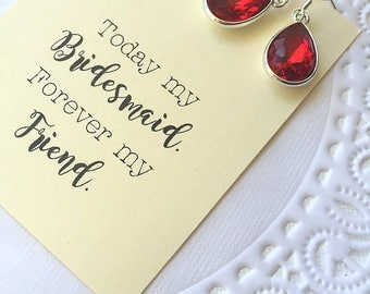 Teardrop earring, rhinestone, bridesmaid earring, bridesmaid gift, red earrings, other colors available.