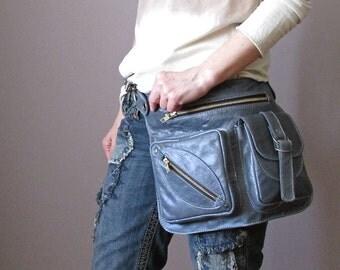 Blue Pigeon Belt Bag, 4 Pocket Belt Bag, Bum Bag, Waist Bag, Leather Pouch, Hippie Bag, Festival Bag, Utility Belt, Shoulder Bag, Hip Purse