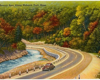 Mohawk Trail Vintage Postcard - Scenic Drive along the Mohawk Trail (Unused)
