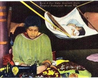 Vintage Florida Postcard - A Seminole Mother and Baby (Unused)
