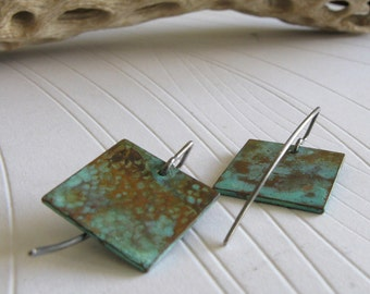 Copper verdigris earrings with sterling silver.  Organic patina jewelry. Dainty lightweight little squares.