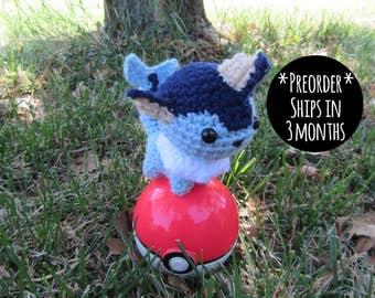 PREORDER - Crochet - Chibi Pokemon Amigurumi - Vaporeon. Pokemon Plush. Pokemon Amigurumi. Eeveelution Toy. Nintendo Gamer Gift. Yarn Art.
