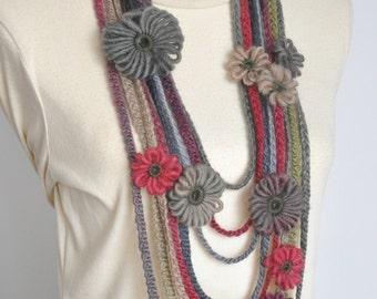 Memory- Multicolor Multistrand Loom Flower Bib Necklace