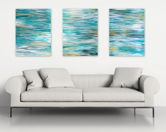 Ocean Triptych Wall Art - Original Abstract Paintings Set of 3 - Contemporary Coastal Home Decor - Beach House Decor - Extra Large Artwork