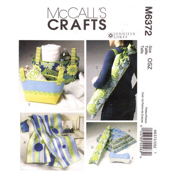 McCalls 6372 Yoga Accessories Pattern Quilt, Yoga Mat Carrier, Cushions, Fabric Baskets, Neck Roll