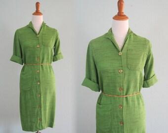 Pretty 70s Leaf Green Shirt Dress - Vintage Button Down Dress by Tumbleweeds - Vintage 1970s Dress S M