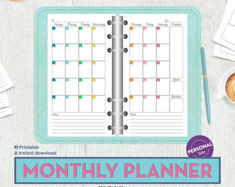 Filofax Personal Insert Printable Personal Planner Inserts Monthly Planner Printable Printable Kikki K Instant Download