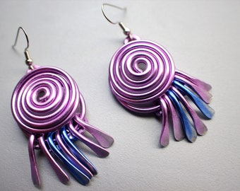 Heavenly Lavender Pastel Purple Blue Spiral Tassel Wind Chime Earrings