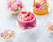 Red Fruit 'Mirror' Cake Decorated with Cream, Fruit, Pink Macaroon - Miniature Food in 12th Scale for Dollhouse