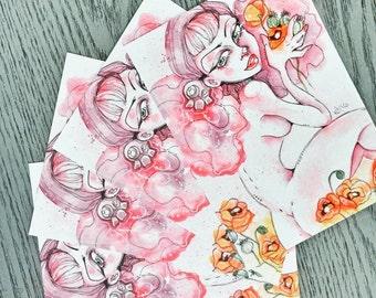 Poppy Flower Nude Pinup Girl Art Print