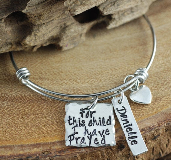 Personalized Mom Bracelet, For This Child I Prayed, Hand Stamped Bracelet, 1 Samuel 1:27, New Mom Bracelet, Mothers Bracelet, Gift for Mom