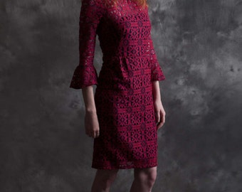 Crimson Lace Bell Sleeve Fitted Dress