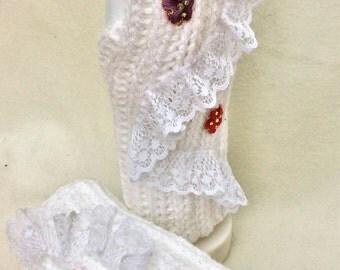 Handmade crochet Fingerless Gloves White Lace