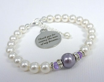 Wisteria Purple Bracelet, Light Purple Bracelet, Purple Wedding Bracelet, Mother of the Bride Gift Bracelet, Mother of the Groom Gift
